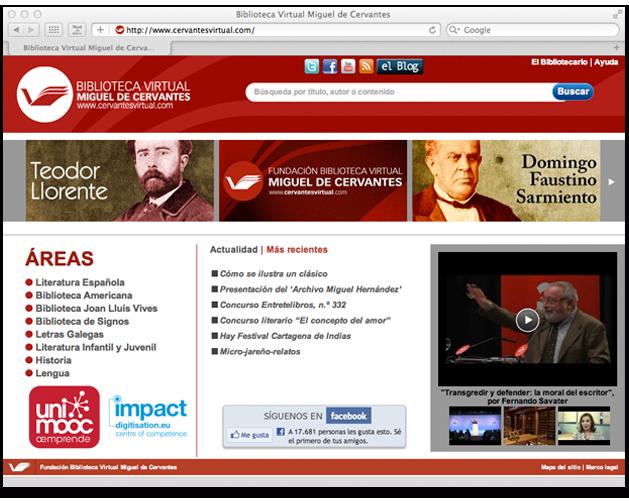 Web de la Biblioteca Virtual Miguel de Cervantes