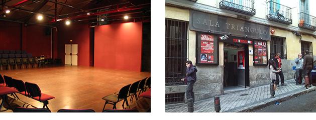 Izquierda, Teatro Réplika. Derecha, Sala Triángulo (hoy teatro del Barrio).
