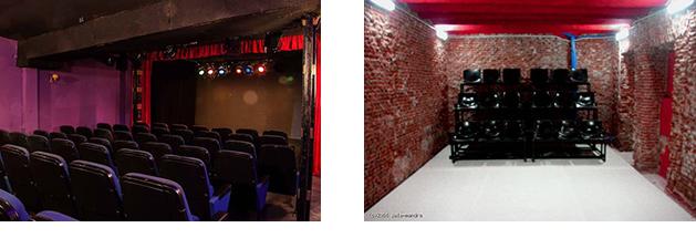 Izquierda, Teatro de las Aguas. Derecha, DT Espacio Escénico.