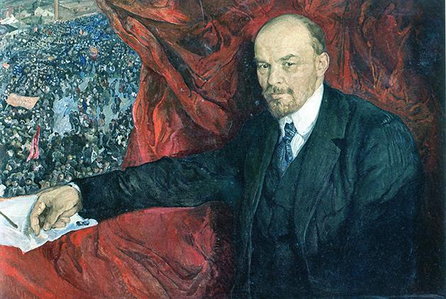 Isaak Brodski, Lenin y la manifestación, 1919.