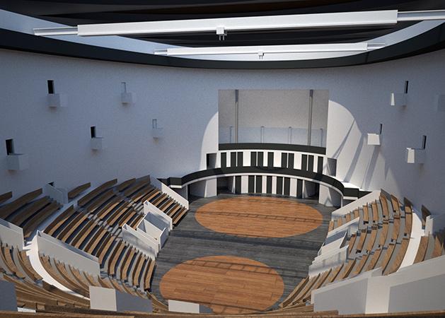 Juan I. Prieto, Vista interior de la segunda versión del Teatro Meyerhold, 2012.