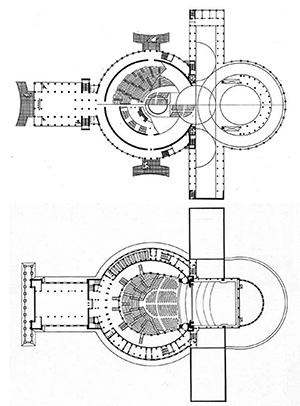 Aleksandr Grinberg y Mijaíl Kurilko, Teatro Sintético Panorámico-Planetario, Novosibirsk, 1931 (imagen superior) y el proyecto modificado por Vladímir Birkemberg, 1934-1945 (inferior).