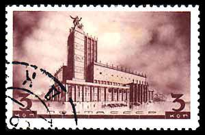 Alekséi Schusev, sello con la propuesta ganadora del alzado para el Teatro Meyerhold, 1934.