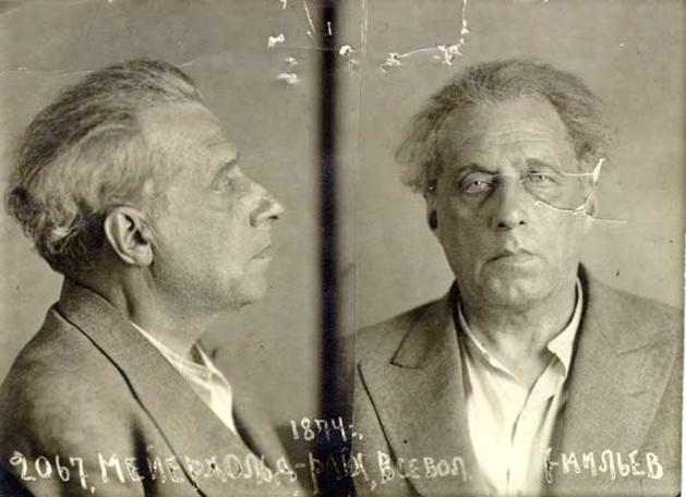 Fotografía de Vsévolod Meyerhold del Archivo Policial tras su arresto.
