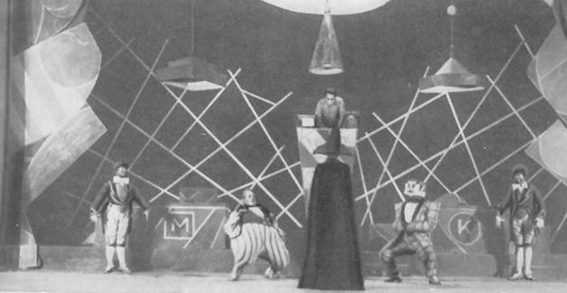 El mejicano, un proyecto del Primer Teatro Obrero del Proletkult de Moscú (1921). Con texto de Boris Arvatov, dirección de Valentin Shmyshlaiev y escenografía de Sergei Eisenstein y Leonid Nikitin.