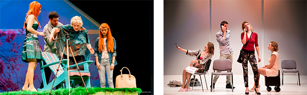 Izquierda, El arte de la entrevista, de Juan Mayorga. Teatro Nacional Croata en Zadar (Hrvatsko Narodno Kazalište Zadar), 2015. Derecha, Móvil, de Sergi Belbel. (Teatro Moruzgva, 2015).