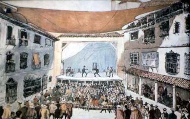 El Corral de la comedia. Dibujo de Comba representando, supuestamente, el Teatro del Príncipe en el siglo XVII.