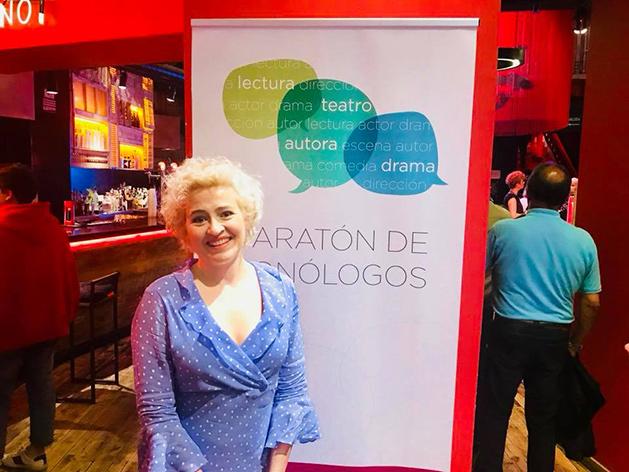 La artista Esther Gimeno en la presentación de la Maratón de Monólogos de la AAT. Teatros Luchana, junio 2018.