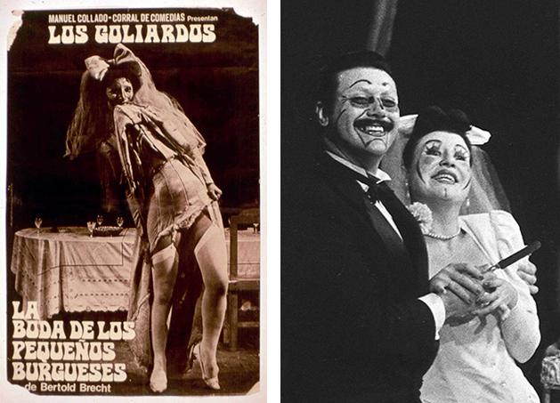 Cartel deLa boda de los pequeños burgueses, Los Goliardos, Santiago de Compostela, 1970 y La boda de los pequeños burgueses, de Bertolt Brecht. 1970.