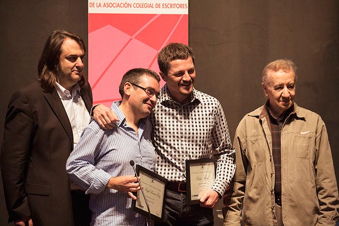 Miguel Ángel de Rus, Félix Ángel Moreno, Pedro Víllora y Jesús Campos en la entrega de Premios de Ediciones Irreverentes en el XIV Salón Internacional del Libro Teatral. (19-X-2013).