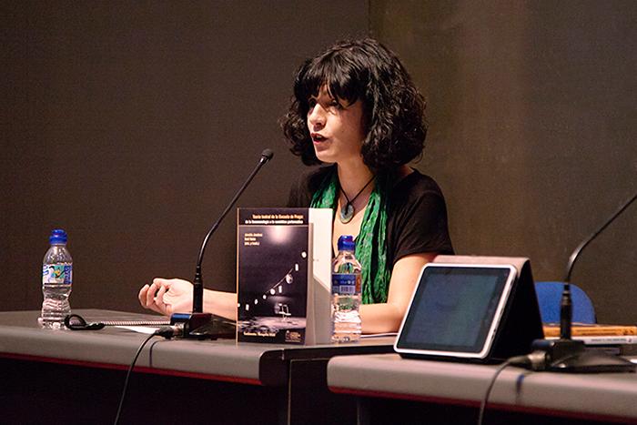 Yolanda Pallín en la presentación de novedades de Fundamentos-RESAD (XIV Salón Internacional del Libro Teatral, 18-X-2013).